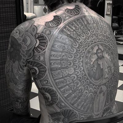 Jesus tattoo by Valerie Vargas #ValerieVargas #Jesustattoo #JesusChristtattoo #religioustattoo #religious #Catholic #Christian #portraittattoo #backpiece #saints #angels #detailed #romancatholic #cross