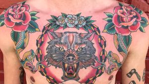 Healed wolf and chain, freah roses and snakes