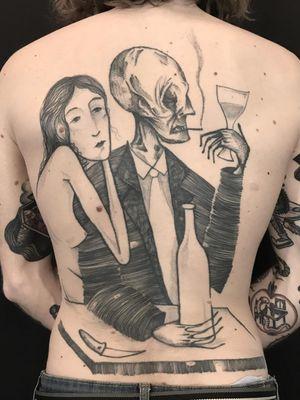 Illustrative back piece tattoo by Servadio #Servadio #specialtattoos #uniquetattoos #besttattoos #awesometattoos #tattoodoapp #tattooartist