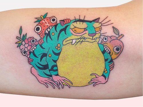 Tiger frog tattoo by Brindi #Brindi #specialtattoos #uniquetattoos #besttattoos #awesometattoos #tattoodoapp #tattooartist