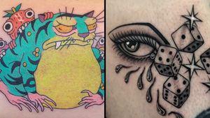 Tiger frog tattoo on the left by Brindi and tattoo on the right by Juan Diego Prieto #JuanDiegoPrieto #Brindi #specialtattoos #uniquetattoos #besttattoos #awesometattoos #tattoodoapp #tattooartist