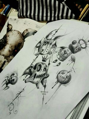 """Mini sketches for small darkness tattoos !! Revisited of """" The Art of Shichigoro"""". #pencildrawing #drawings #sketchtattoo #blackandgrey #horrorart #DarkArt #darkartists #lilithdivineartist #madnesscircus"""