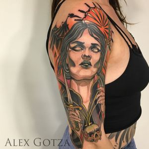 Tattoo by Alex Gotza .Done using: @kwadron @sunskintattoo @balm_tattoo #tattoo #tattoos #inked #tattooart #neotraditional #neotraditionaltattoo #colortattoo #circus