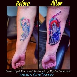 Wolf rescue, cover-up / reworked tattoo by Alysia Roberson at Siren's Cove Tattoo in Piedmont, SC!! #bloodmoon #bloodmoontattoo #watercolortattoo #coveruptattoo #tattoonightmares #wolfrescue #watercolor #treetattoo #badtattoo #sundayfunday #moontattoo #wolftattoo #lonewolf #animaltattoo #realistictattoo #wolf #tattoos #tattooed #tattooedwomen #naturetattoo #tattooedmen #sc #sctattooartist #femaletattooartist #sctattooist #sctattoo #sctattooshop #southcarolinatattooartist #Alysiarobersontattoo #sirenscovetattoo www.facebook.com/sirenscovetattoo www.facebook.com/Alysia.Roberson.Tattoo.Artist