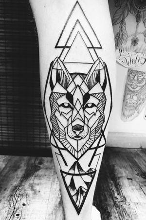 Geometric wolf piece.