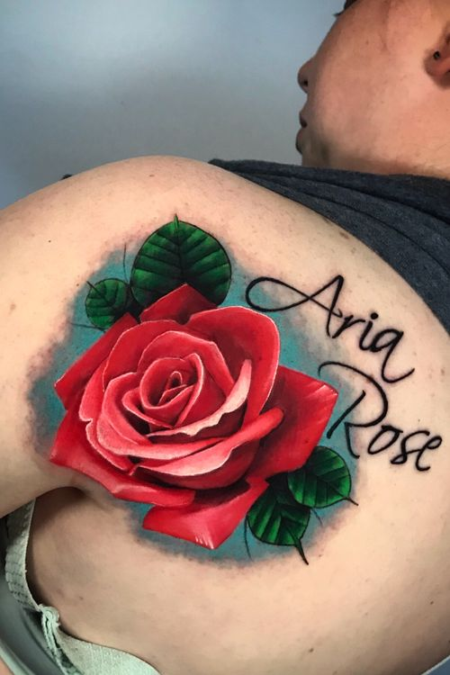 Colorfull rose #rose #RoseTattoos #tattooartist #tattoos #miami #miamitattoos