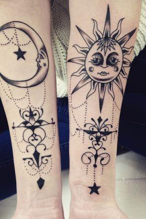 Ornamental moon and sun.