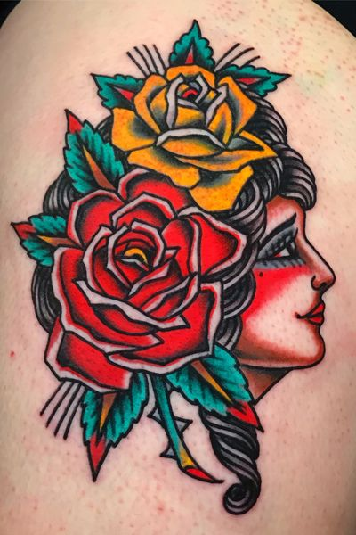 Hot Stuff Tattoo, Asheville NC. Email chuckdtats@gmail.com for booking info. #ladyhead #roses #traditional #traditionaltattoo