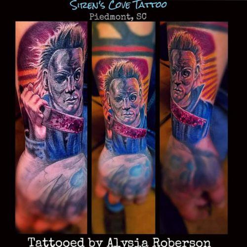 The new Halloween movie was awesome!!! Here's a Michael Myers throwback, tattooed by Alysia Roberson at Siren's Cove Tattoo in Piedmont, SC!! #halloween #halloweenmovie #michaelmyers #alltheyhavetodoisjustoutwalkhim #slashermovie #jamieleecurtis #dannymcbride #halloweentattoo #michaelmyerstattoo #serialkiller #portraittattoo #realistictattoo #horrortattoo #tattoos  #tattooedwomen #tattooedmen #tattoo #sc #sctattoo #sctattooartist #sctattooshop #sctattooist #sctattooer #southcarolinatattooartist #greenvillesc #downtowngreenville #andersonsc #clemsonsc #Alysiarobersontattoo #sirenscovetattoo www.facebook.com/sirenscovetattoo www.facebook.com/Alysia.Roberson.Tattoo.Artist IG: sirens_cove_tattoo