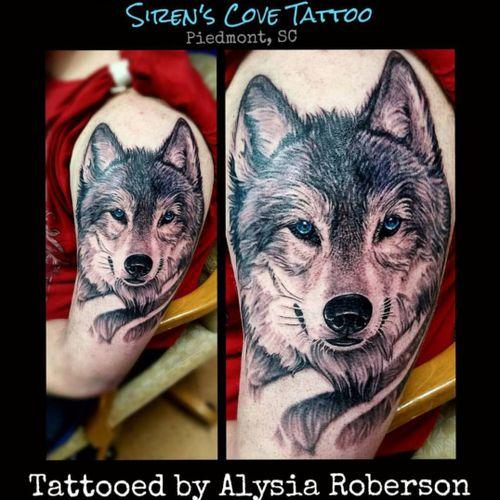 Wolf tattooed by Alysia Roberson at Siren's Cove Tattoo in Piedmont, SC!! His FIRST tattoo!!! He sat ridiculously great! #tattoos #tattooed #tattooedmen #tattooedman #tattooedwoman #tattooedwomen #sleeve #sleevetattoo  #halfsleeve #wolf #wolftattoo #wolves #lonewolf #wolfpack #animaltattoo #realistictattoo #firsttattoo #sc #sctattooartist #sctattooist #southerntattooers #southcarolinatattooartist  #greenvillesc #andersonsc #clemsonsc #ladytattooer  #blackandgrey #femaletattooartist #sirenscove #alysiarobersontattoo #sctattooer #sctattoo #sctattooshop #sirenscovetattoo www.sctattooshop.com www.facebook.com/sirenscovetattoo www.facebook.com/Alysia.Roberson.Tattoo.Artist