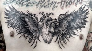 Chest piece, heart and wings