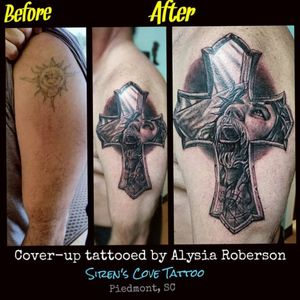 Cover-up old tattoo...turned out so great!!! Tattooed by Alysia Roberson at Siren's Cove Tattoo in Piedmont, SC! #jesus #jesustattoo #portraittattoo #coveruptattoo #tattoonightmares #jesuschrist #jesuschristtattoo #clemsontigers #inkmaster #crownofthorns #sacrifice #tattooedwomen #tattooedwoman #tattooedman #tattooedmen #religioustattoo #christian #greenvillesc #god #church #southerntattooers #clemsonsc #blackandgrey #realistictattoo #blackandgreytattoo #christiantattoo #cross #crosstattoo #sc #sctattooartist #sctattooist #ladytattooer #femaletattooartist #sctattoo #sctattooshop #alysiarobersontattoo #sirenscovetattoo www.facebook.com/sirenscovetattoo www.facebook.com/Alysia.Roberson.Tattoo.Artist