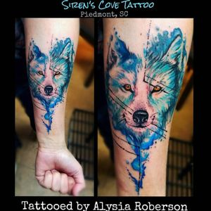 Lovvve how this watercolor wolf came out!!! Tattooed by Alysia Roberson at Siren's Cove Tattoo in Piedmont, SC! #watercolor #watercolortattoo #wolf #wolftattoo #wolfpack #lonewolf #tattoos #tattooed #tattooedwomen #tattooedwoman #tattooedman #tattooedmen #inkmaster #sc #sctattooer #sctattooartist #sctattooist #sctattoo #badasstattoo #southcarolinatattooartist #greenvillesc #andersonsc #clemsonsc #sleeved #halfsleeve #downtowngreenville #ink #inked #tattoosforwomen #yeahthatgreenville #prettytattoo #inkedgirl #traditionaltattoo #femaletattooartist #animaltattoo #beautifultattoo #realistictattoo #alysiarobersontattoo #sirenscovetattoo www.facebook.com/sirenscovetattoo www.facebook.com/Alysia.Roberson.Tattoo.Artist