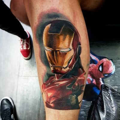 Part healed and part fresh #ironmantattoo #ironman #marveltattoo #marvel #comictattoo #comictattoo #marveltattoos #stanlee #realism