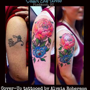 Cover-up with some neotrad Japanese style peony flowers, tattooed by Alysia Roberson at Siren's Cove Tattoo in Piedmont, SC!! #tattoos #tattooed #tattooedwomen #tattooedmen #sc #sctattooartist #sctattooer #sctattooist #sctattoo #sctattooshop #southcarolinatattooartist #tattooartist #andersonsc #clemsonsc #greenvillesc #coveruptattoo #tattoonightmares #coverup #japanesetattoo #neotrad #flowertattoo #fairytattoo #peonyflowertattoo #inkedgirl #peonytattoo #girlytattoo #prettytattoo #inked #inkedup #alysiarobersontattoo #sirenscovetattoo www.facebook.com/sirenscovetattoo www.facebook.com/Alysia.Roberson.Tattoo.Artist