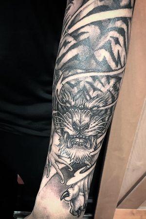 Asian-style Tiger half-sleeve