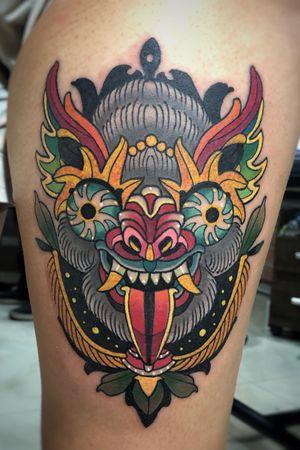 """Bolivian Mask """"oso de diablada"""" #neotraditional #tattooartist #boliviantattoos #boliviantattooer #diablada #eternaltattoobolivia #bolivia"""