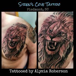 "Finished this lil' lion !! We are close to having ""Lions, Tigers, and bears!....Oh my!"" Tattooed by Alysia Roberson at Siren's Cove Tattoo in Piedmont,SC!!! #lion #liontattoo #kittytitty #realistictattoo #blackandgrey #blackandgreytattoo #cattattoo #lionking #lionkingtattoo #lions #lionheart #TheLionKing #thelionkingtattoo #heartofalion #animaltattoo #chestpiece #chesttattoo #tattoos #tattooed #tattooedmen #tattooedman #tattooedwoman #tattooedwomen #sctattoo #sctattooartist #mufasa #realistic #mufasatattoo #simbatattoo #ladytattooer #femaletattooartist #lionstigersandbearsohmy #sctattooshop #southcarolinatattooartist #greenvillesc #simba #clemsonsc #Alysiarobersontattoo #sirenscovetattoo www.facebook.com/sirenscovetattoo www.facebook.com/Alysia.Roberson.Tattoo.Artist"