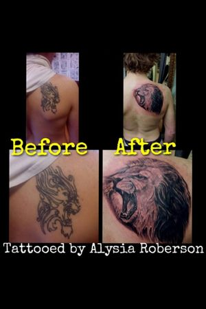 Another cover-up tattooed by Alysia Roberson at Siren's Cove Tattoo in Piedmont, SC! :-D #tattoo #tattooartist #tattooist #tattooer #femaletattooartist #ladytattooer #ladytattooist #girlswhotattoo #coveruptattoo #coverup #tattoonightmare #tattoonightmares #liontattoo #lion #realistictattoo #realistic #realism #blackandgreytattoo #blackandgrey #animaltattoo #portraittattoo #greenvillesc #yeahthatgreenville #downtowngreenville #andersonsc #clemsonsc #inkmaster #backtattoo #backpiece #bestink #inkedanimal #inkedup #inked #ink #tattooedmen #tattooedman #mufasa #mufasatattoo #lionking #thelionking #lionkingtattoo #thelionkingtattoo #tattooedwoman #tattooedwomen #meow #leotattoo #leo #lion www.facebook.com/sirenscovetattoo www.facebook.com/Alysia.Roberson.Tattoo.Artist