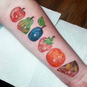 """A Very Hungry Caterpillar book tattoo by Claire """"Snaggle Tooth"""" Warhus #ClaireWarhus #EricCarle #AVeryHungryCaterpillar #childrensbook #booktattoos #literarytattoos #booktattoo #literarytattoo #books #book #reading #literature"""