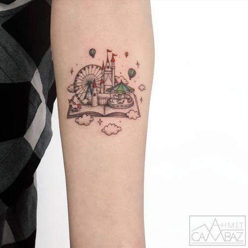 Book tattoo by Ahmet Cambaz #AhmetCambaz #booktattoos #literarytattoos #booktattoo #literarytattoo #books #book #reading #literature