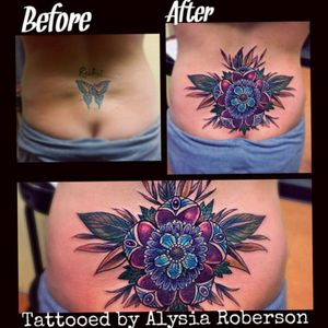 Covered up her old 1st tattoo she got at 16...a butterfly... and then her own name she got added later on..... with a really cool flower design across her lower back!!! #tattoos #tattooartist #tattooist #yeahthatgreenville #tattooed #sc #sctattooartist #sctattooist #sctattoo #sctattooer #sctattooshop #southcarolinatattooartist #greenvillesc #andersonsc #clemsonsc #inkmaster #bestink #tattooedwomen #tattooedwoman #tattooedman #tattooedmen #inkedgirl #inkedfemales #inkedgirls #ink #inked #inkedup #sctattooshop #ink #tattoonightmare #coveruptattoo #femaletattooartist #coveruptattooing #backpiece #lowerbacktattoo #flowertattoo #paisley #paisleytattoo #mandala #butterflytattoo #trampstamp #nametattoo #oldschooltattoo #traditionaltattoo #neotraditionaltattoo #newschooltattoo #floraltattoo #floral #sctattooist #alysiarobersontattoo