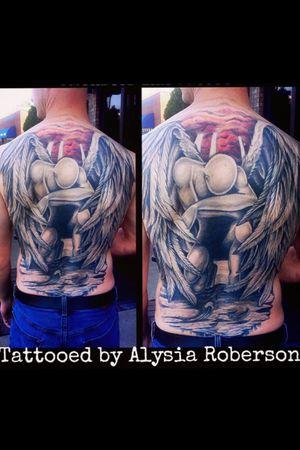 Healed Angel backpiece tattoo from back in 2014 tattooed by Alysia Roberson at Siren's Cove Tattoo in Piedmont, SC! His 1st tattoo! #tattoo #tattooartist #sctattooshop #1sttattoo #firsttattoo #sctattooist #tattooer #sc #sctattooartist #greenvillesc #downtowngreenvillesc #yeahthatgreenville #andersonsc #clemsonsc #inkmaster #bestink #tattooedmen #tattooedman #tattooedwoman #tattooedwomen #ink #inkedbombshell #backpiece #tattoos #tattooed #femaletattooartist #sctattooer #portraittattoo #feathertattoo #backtattoo #alysiarobersontattoo #christiantattoo #christian #jesustattoo #god #godtattoo #blackandgrey #realistic #realism #southcarolinatattooartist #sc #bible #biblequote #bibleverse #BibleTattoo #wingstattoo #angelwingstattoo #tattooed #angeltattoo #religioustattoo #wingstattoo #sirenscovetattoo www.facebook.com/sirenscovetattoo www.facebook.com/Alysia.Roberson.Tattoo.Artist