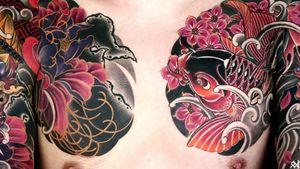 Japanese flower & koi tattoo #irezumi #japanesetattoo #orientaltattoo #koitattoo japaneseflowertattoo #KoreanTattoos #394tattoo #tattooistyounharu |by_Youn.HARU