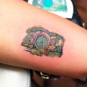 The Hobbit tattoo by Dani Tattoo NYC #DaniTattooNYC #TheHobbit #JRRTolkien #booktattoos #literarytattoos #booktattoo #literarytattoo #books #book #reading #literature