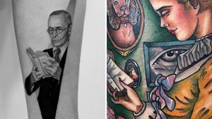Book tattoo on the left by Pawel Indulski and book tattoo on the right by Guen Douglas #GuenDouglas #PawelIndulski #booktattoos #literarytattoos #booktattoo #literarytattoo #books #book #reading #literature