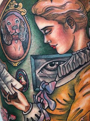 A girl reading tattoo by Guen Douglas #GuenDouglas #booktattoos #literarytattoos #booktattoo #literarytattoo #books #book #reading #literature #Flaubert #girl #portrait #neotraditional