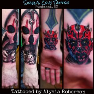Added Darth Maul to this Star Wars sleeve, tattooed by Alysia Roberson at Siren's Cove Tattoo in Piedmont, SC!!! Lots of details within that small space on the wrist! Tattooed Darth Nihilus, Princess Leia, and R2D2 awhile back!! To be continued!... #starwars #starwarstattoo #DarthMaul #DarthMaultattoo #raypark #rayparktattoo #R2D2 #R2D2tattoo #RIPCarrieFisher #tattoos #tattooed  #CarrieFisherTattoo #PrincessLeia #PrincessLeiaTattoo #GeorgeLucas #Jedi #jeditattoo  #Sith #maythe4thbewithyou #maytheforcebewithyou   #sithlord  #sithtattoo #disneytattoo #disney #tattooedmen #tattooedman #tattooedwoman #tattooedwomen #sc #sctattooartist #comicon #DarthNihilusTattoo #DarthNihilus #portraittattoo #realistictattoo #femaletattooartist #ladytattooer #ladytattooist #southcarolinatattooartist #greenvillesc #alysiarobersontattoo #sirenscovetattoo www.facebook.com/Alysia.Roberson.Tattoo.Artist www.facebook.com/sirenscovetattoo