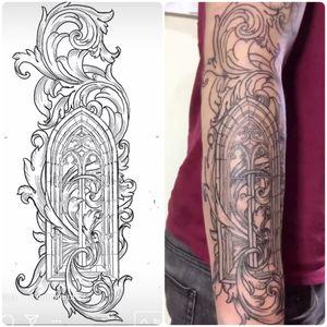 Church frame and scrolling custom tattoo