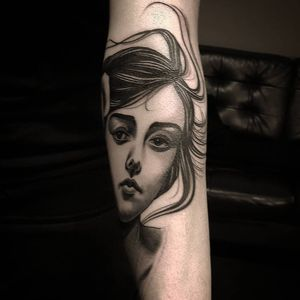 Neo Traditional tattoo by Bjorn Liebner #BjornLiebner #tattooartist #neotraditional #illustrative #darkart #antique #vintage #Japanese #ladyhead #portrait #gibsongirl