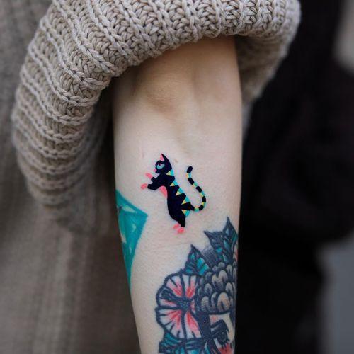 Tiny cat tattoo by ZziZzi #Zzizzi #tinytattoos #tinytattoo #smalltattoo #small #tiny #minimal #mini