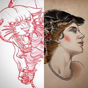 Tattoo art by Bjorn Liebner #BjornLiebner #tattooartist #neotraditional #illustrative #darkart #antique #vintage