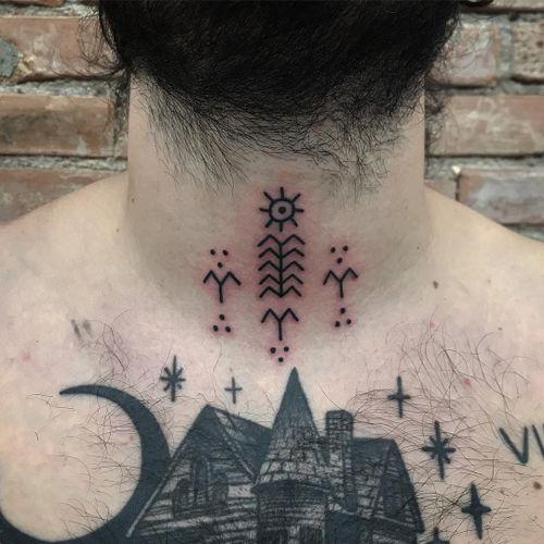 Small neck tattoo by Xapiripa #Xapiripa #tinytattoos #tinytattoo #smalltattoo #small #tiny #minimal #mini