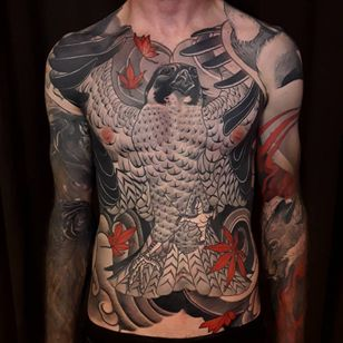 Neo Traditional tattoo by Bjorn Liebner #BjornLiebner #tattooartist #neotraditional #illustrative #darkart #antique #vintage #Japanese #owl #leaves #mapleleaves #mapleleaf #wings #feathers #chesttattoo