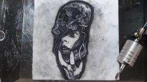 Horror Tattoo, black and gray,