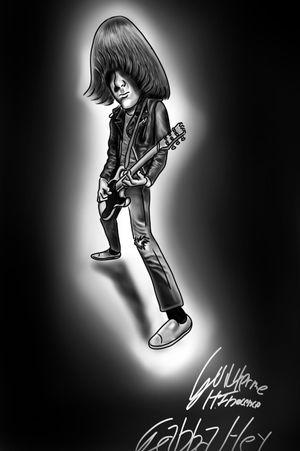 Johnny Fucking Ramone! #ramonestattoo #blackandgreytattoo #digitalartist #gabbagabbahey