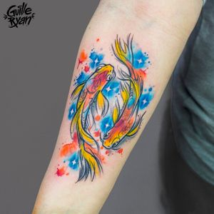 Fish tattoo by @guilleryan.arttattoo guilleryanarttattoo@gmail.com #fish #bettafish #koi #watercolor