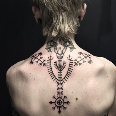 Croatian folk tribal tattoo by Ciara Havishya #CiaraHavishya #neotribaltattoo #tribaltattoo #tribal #blackwork #illustrative #pattern #shapes