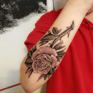 Traditional rose tattoo.