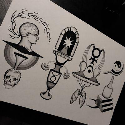 #totemica #tunguska #black #tattoo #flash #drawing #zodiac #aries #taurus #gemini #cancer #skull #ear #star #moon #hand #crutch #blackworkers #ontheroad #guest #tattooing #WTT #where_they_tatt #italy #netherlands #spain