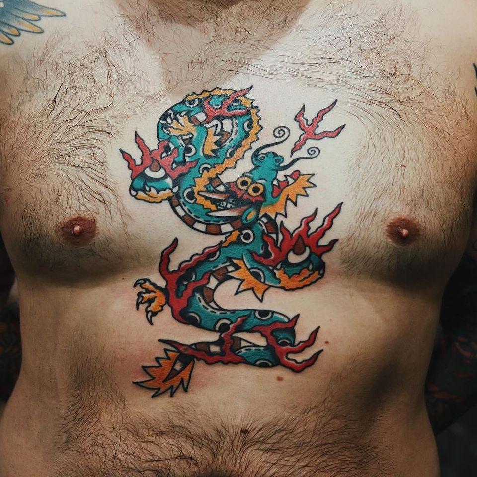 Dragon tattoo by Liam Alvy #LiamAlvy #dragontattoos #dragontattoo #dragon #mythicalcreature #myth #legend #magic #fable