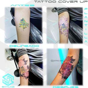 "[TATTOO COVER UP] Composición ""Rosas sobre tatuaje acuarelado"" Estilo Mixto. Full color. Diseño propio personalizado. Una Sesión. Artista: FB/INSTA: @jaime.sxe #SkylineStudio #TattooDesign #CreateYourself"