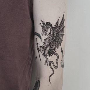 Dragon tattoo by Josef Batar #JosefBatar #dragontattoos #dragontattoo #dragon #mythicalcreature #myth #legend #magic #fable