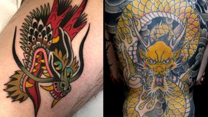 Dragon tattoo on the left by Marvin Diekmaennken and dragon tattoo on the right by Ichi Hatano #IchiHatano #MarvinDiekmaennken #dragontattoos #dragontattoo #dragon #mythicalcreature #myth #legend #magic