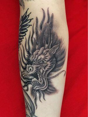 Dragon tattoo by Juan Diego Prieto #JuanDiegoPrieto #dragontattoos #dragontattoo #dragon #mythicalcreature #myth #legend #magic #fable