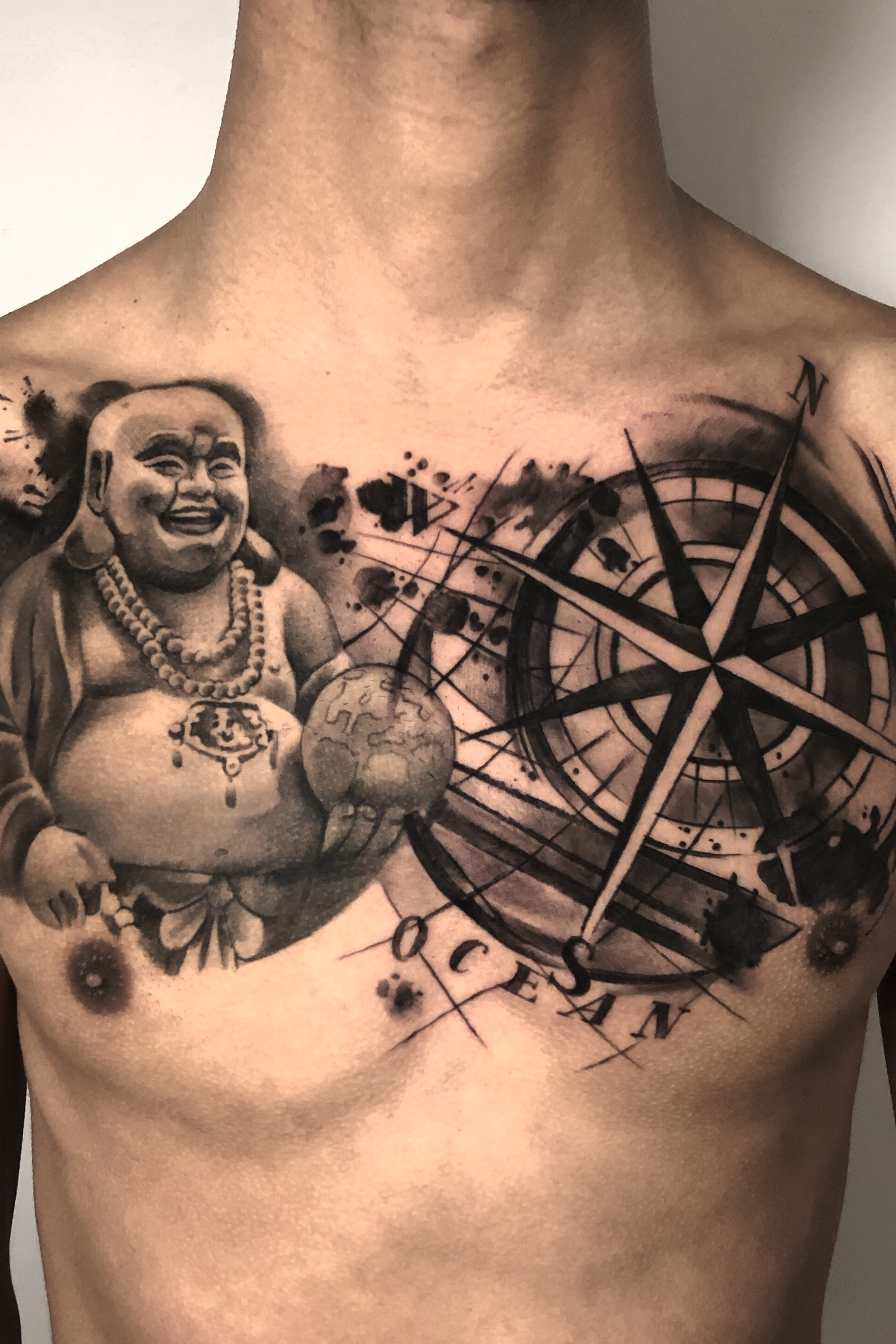 Fun piece- chest piece on André. Not my usual style, but I thought I'd share it anyway ? laughing Buddha healed from 3 weeks ago. Using @cheyenne_tattooequipment @dynamiccolor @barberdtssupplies @yayofamilia super cool amazing aftercare ? . . #trashpolka